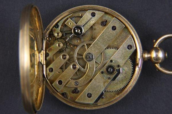 6042: 14k Gold H. Montandon Key Wind Pocket Watch - 3