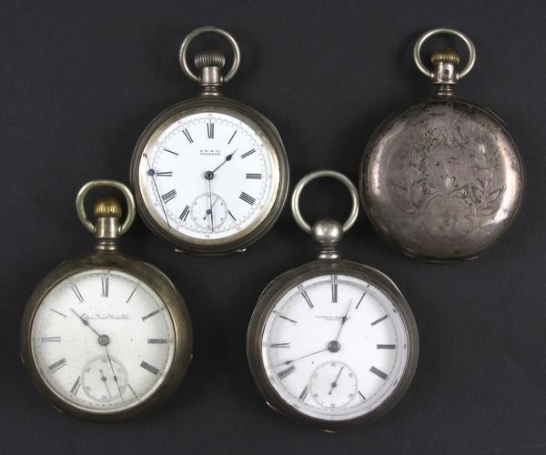 6055: (4) Coin Silver Pocket Watches, Elgin, Illinois