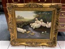 Oil on canvas painting of ducks