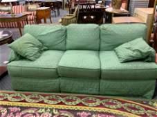Lot of 2 green silk sofas