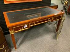 Regency style table desk tooled leather top