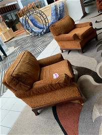 Lot of 3 upholstered brown side chairs