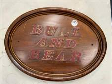 Bull and Bear sign wood carved letters broken L