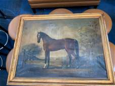 Oil on canvas antique painting of a horse