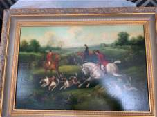 Oil on canvas gilt frame equestrian painting
