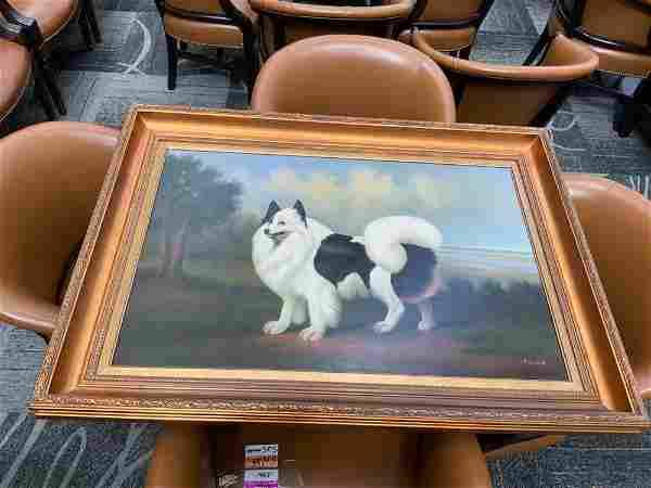 Oil on canvas gilt framed painting of a dog
