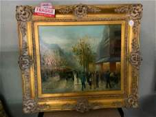 Paris Street Scene Signed Penale Oil on Canvas