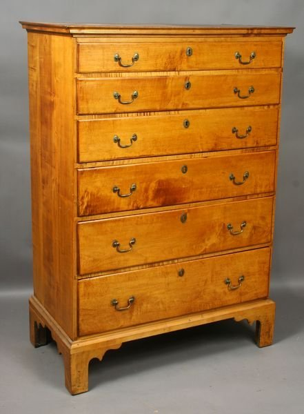 116: 18th C. New England Tiger Maple 6-drawer Chest