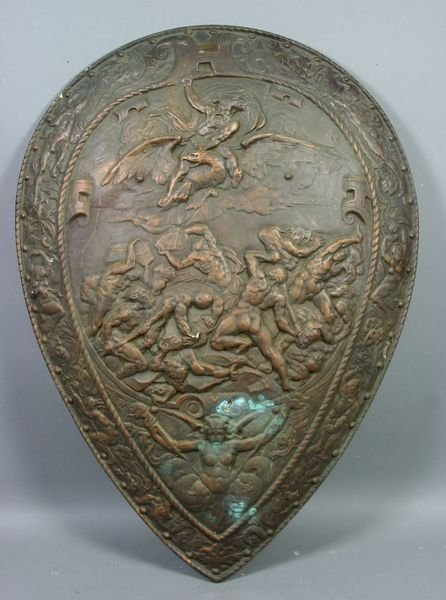 3: 19th C. Iron Shield with Mythological Scenes