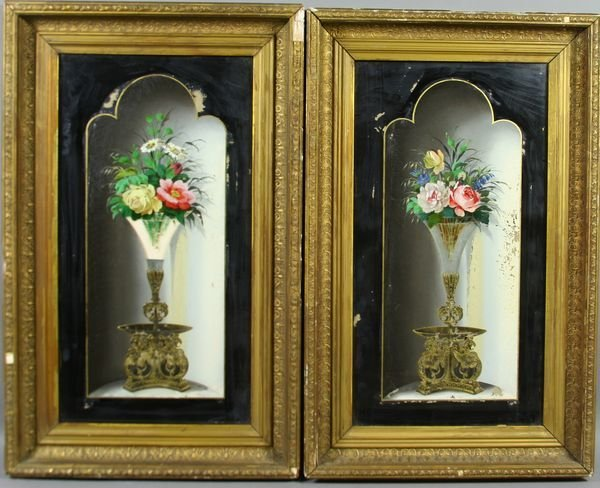 5: Pair of Victorian Reverse Paintings on Glass