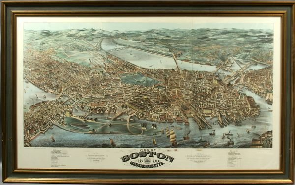 8: 20th Century Print of Boston Harbor, Framed