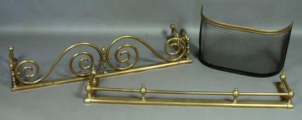 10: (2) Brass Fire Fenders & (1) Steel Screen
