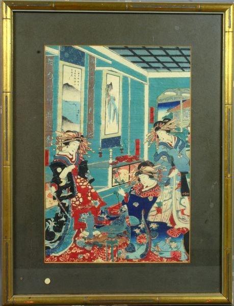 12: 19th Century Japanese Woodblock Print, Signed