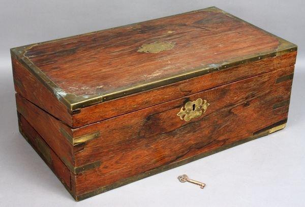 13: 19th C. Rosewood Brass Bound Travel Desk