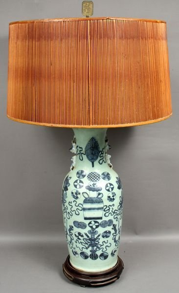 19: 19th Century Chinese Floor Vase Lamp