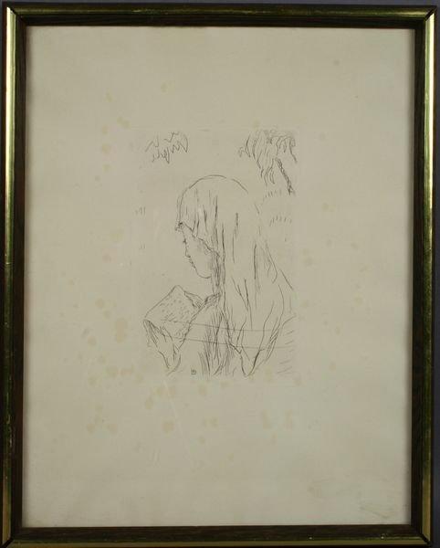 24: Pierre Bonnard Copper Etching, Jeune Fille