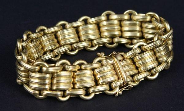 """242: Ladies 18k Gold Link Bracelet, 8"""""""