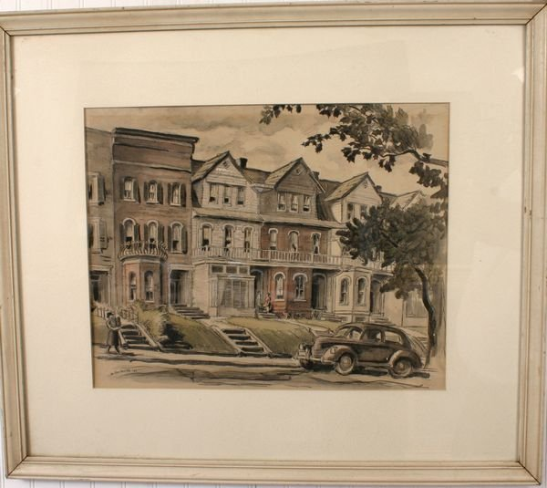 15: Signed Jo Danforth Watercolor, Rowhouses