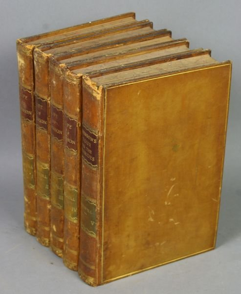 "1009A: (5) Leatherbound Vols, ""Life of Johnson"""