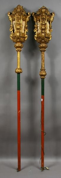 1191: Pair, 19thC Venetian Gondola Lanterns on Poles