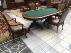 Custom Made Poker Table with 4 Arm Chairs