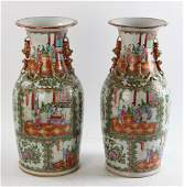 19th C Chinese Rose Medallion Pair Of Vases