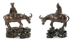 19th C Chinese Pair Of Water Buffalo