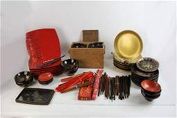 Japanese Lacquer Collection and Red Plates