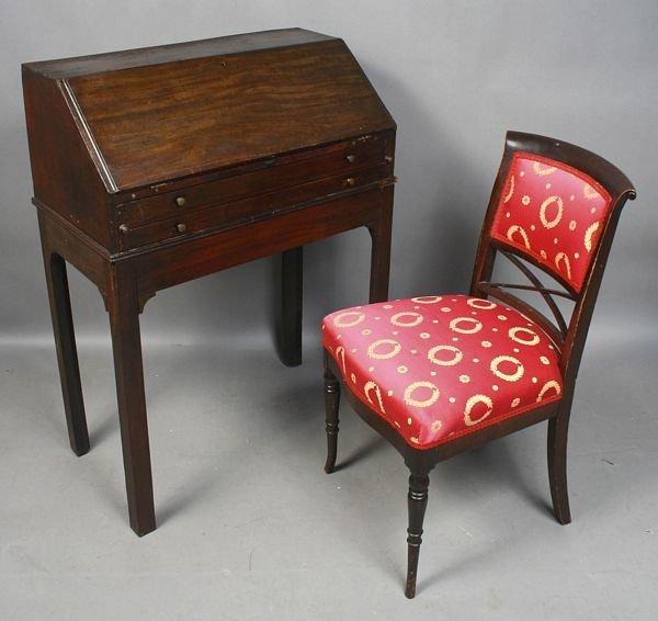 2003: 19th C. English Mahogany Slant-lid Desk & Chair