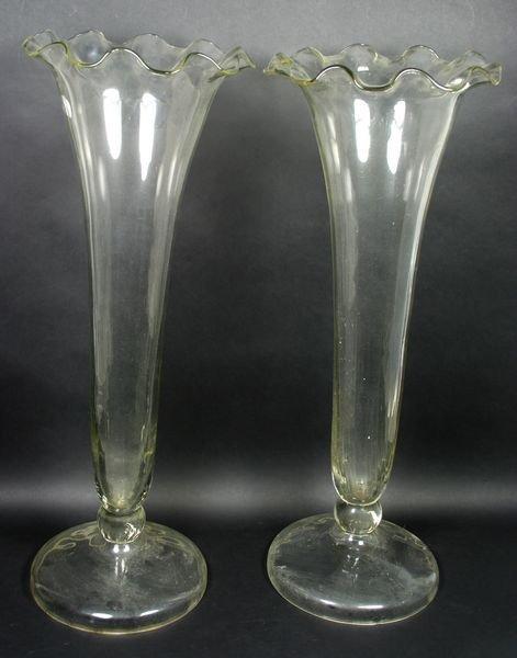 2007: Pair of 20th Century Glass Trumpet Vases