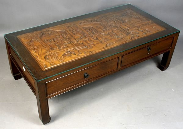 2008: Glass-top Coffee Table w/ Asian Carving