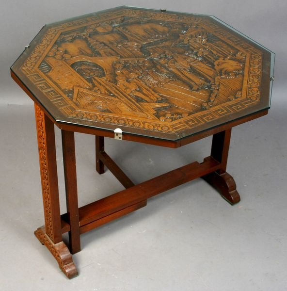 2009: Tip-top End Table with Ornate Asian Carving