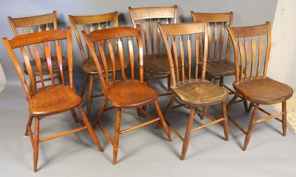 2014: (8) Country Pine Thumb Back Chairs