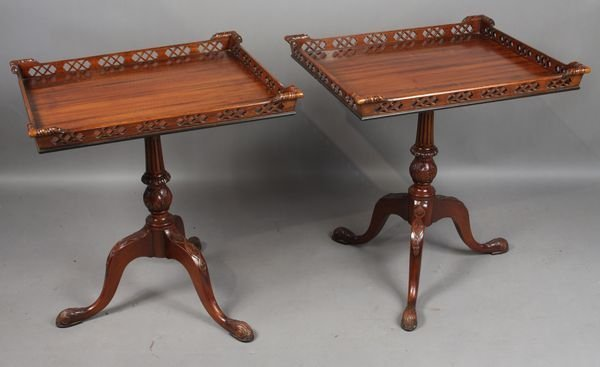 2020: Pair of 20th C. Mahogany Galleried Side Tables