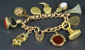 2088: 19th C. Victorian Charm Bracelet w/ Seals