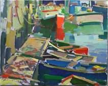 2290: Charles Movalli, Boats at Dock, o/c