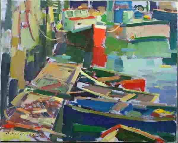 Charles Movalli, Boats at Dock, o/c