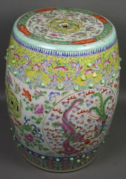3001: 19th C. Chinese Painted Porcelain Garden Seat