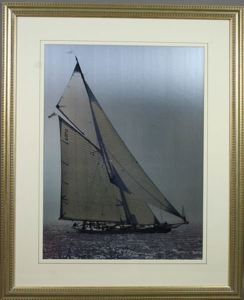 3004: Framed Black & White Photo, Gaff-rigged Boat