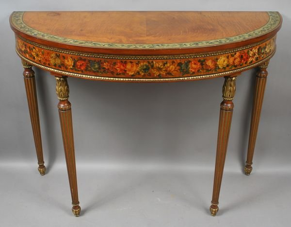 3005: Early 20th C. Adams-style Satinwood Demilune