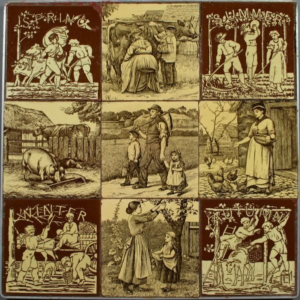3007: (9) 19th C. English Mintons William Wise Tiles