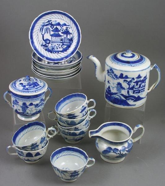3012: (17)-pc 19th C. Chinese Export Tea Set