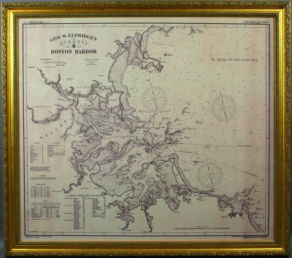 3016: Framed 1902 Eldridge Boston Harbor Chart