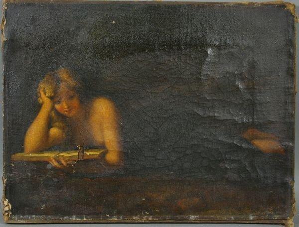 3018: 19th C. European School, Book Reader, o/c