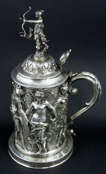 3173: French Silver Tankard, Classical Repousse