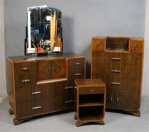 3222: 3-pc art deco bedroom suitewilliamsport