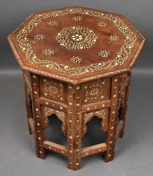 4001: Early 20th C. Indian Bone Inlaid Folding Table