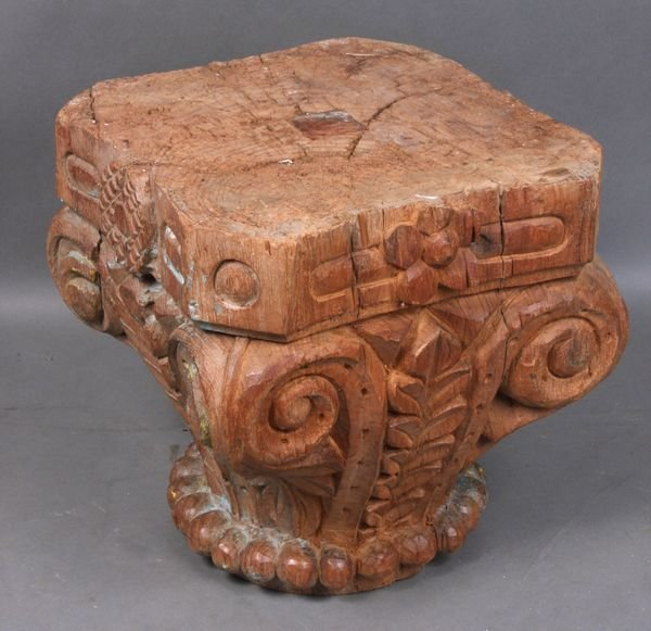 4005: Early 20th C. Carved Wooden Pillar Capital