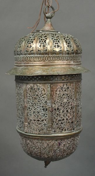 4007: 20th Century Pierced Brass Hall Lantern