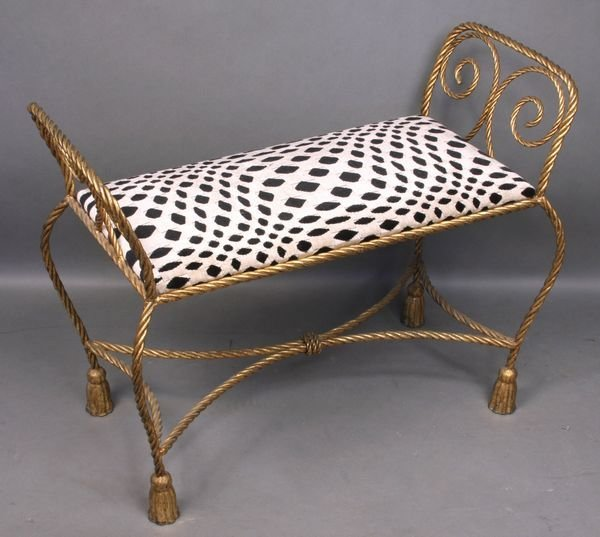 4009: Italian Wrought Iron Upholstered Window Bench